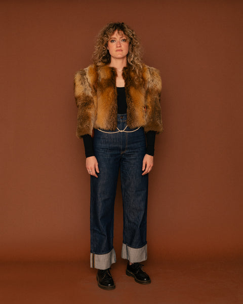 Vintage Fox Fur Crop Coat (S/M)