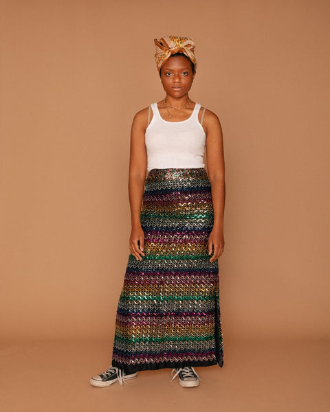 Vintage Sequin Maxi Skirt (2)