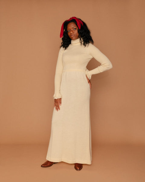 Vintage Cream Wool Turtleneck Maxi Dress (S)