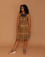 Vintage Mustard Wool Plaid Skirt Set (0)