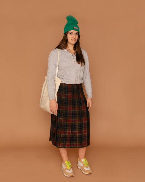Wool Plaid Midi Pleated Skirt (8)