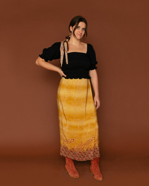 Vintage Gold Silk Wrap Skirt (8)