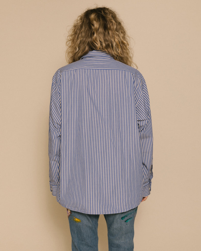 Vintage Not New Women's Oversized Art Shirt Blue and Yellow Stripe Button Down with Lime and Orange Embroidery