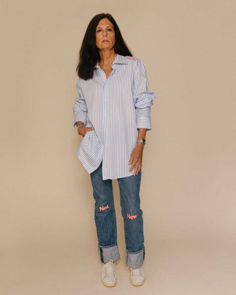 Vintage Not New Women's Oversized Art Shirt White and Blue Stripe Button Down with Pink and Orange Embroidery