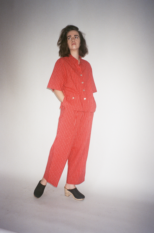 Womens medium vintage red and white linen striped pant set