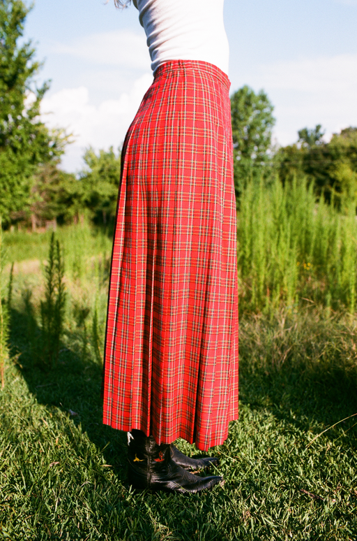 Red Plaid Accordion Pleat Skirt (6)