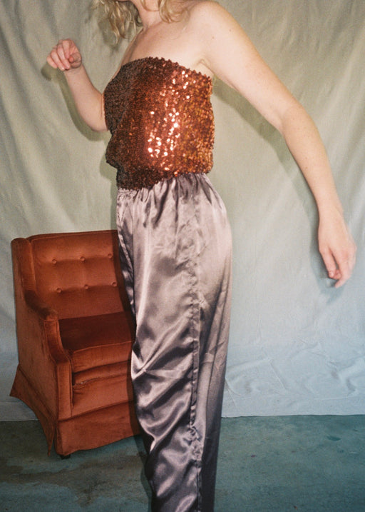 Vintage Copper Sequin Tube Top (M)