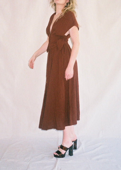 Chocolate Plunge Boho Dress (S)