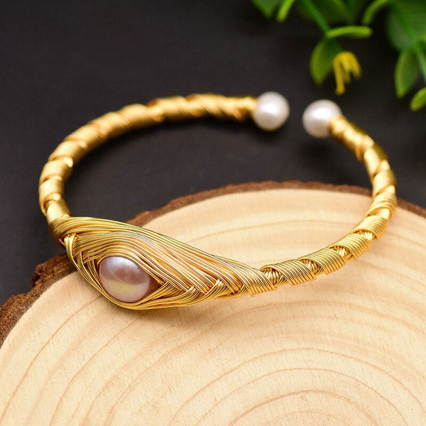 Natural Fresh Water Purple Pearl Adjustable Bangle -  [product_type] - ShaadiMagic