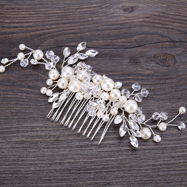 Pearl Crystal Flower Hair Comb -  [product_type] - ShaadiMagic