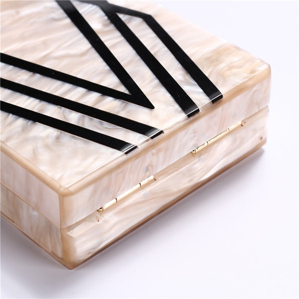 Geometry Splice Print Acrylic Designer Clutch -  [product_type] - ShaadiMagic