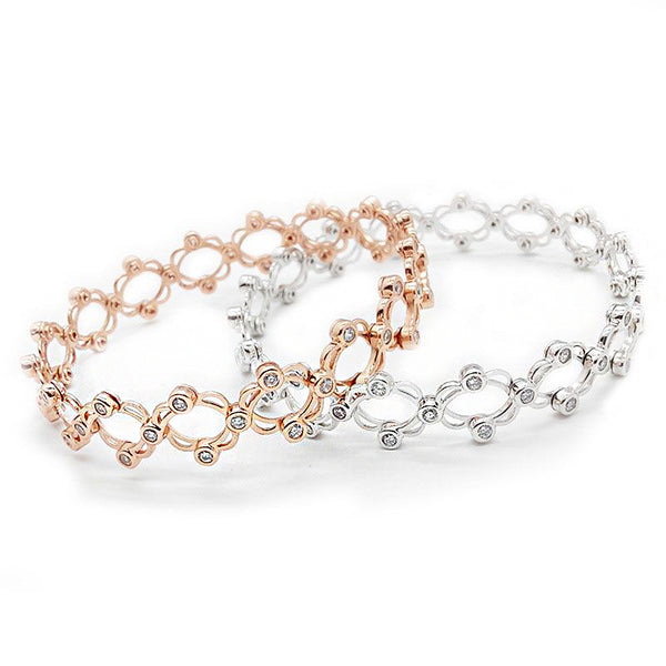 2 in 1 Flexible Ring Bracelet in Silver & Rose Gold -  [product_type] - ShaadiMagic