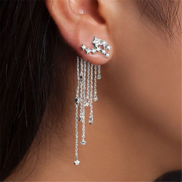 Stylish Gold/ Silver Star Streamlined Tassel Crystal Earrings -  [product_type] - ShaadiMagic