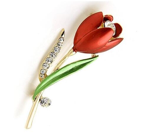 Tulip Flower Crystal Brooch Pin -  [product_type] - ShaadiMagic