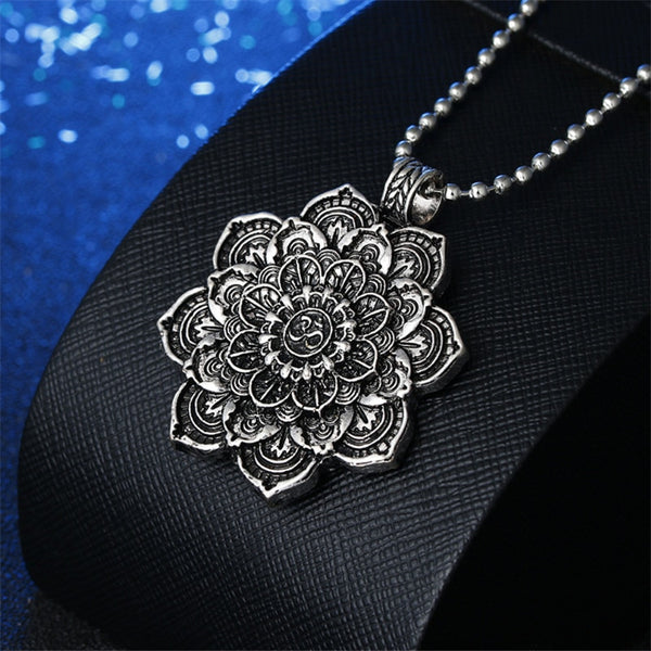 Vintage Lotus Flower Pendant Necklace -  [product_type] - ShaadiMagic