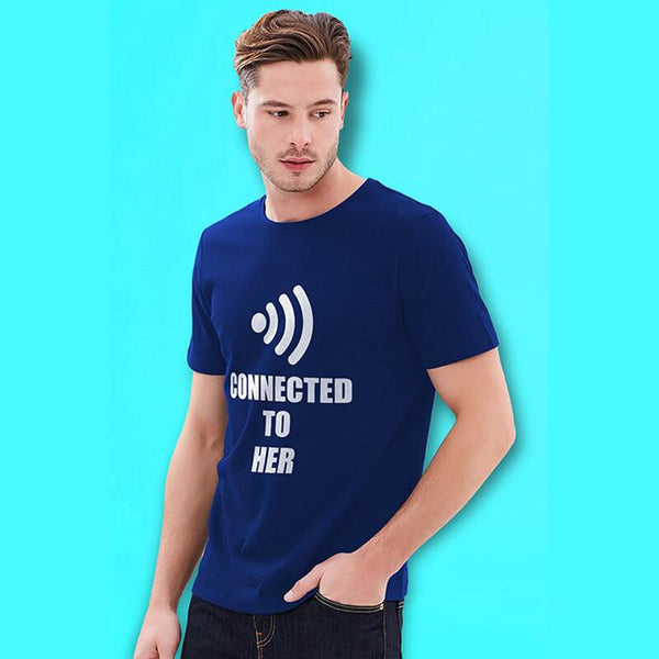 """Wifi Connected To Her Him"" T Shirts -  200000791 - ShaadiMagic"
