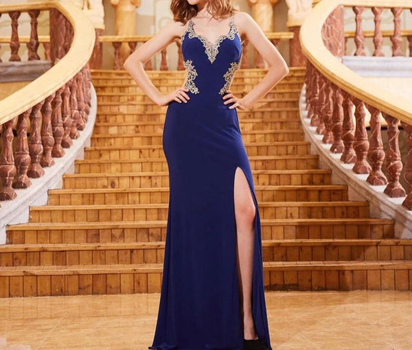 Royal Blue Appliques V-neck 2019 Mermaid Evening Dresses Long Robe Soiree Sexy Cut-Out Back Formal Dress Elegant Gown OL103282 -  32004 - ShaadiMagic