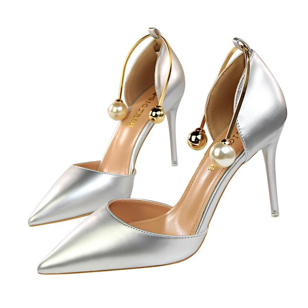 Pearl Metal Buckle Patent Leather High Heels -  200001012 - ShaadiMagic