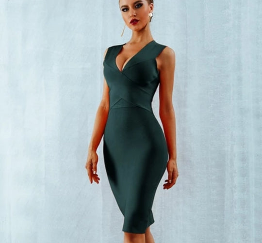 Sexy Deep V-Neck Sleeveless Party Dress -  200000347 - ShaadiMagic