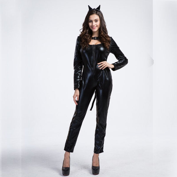 Sexy Black Leopard PVC Latex Catsuit -  200003989 - ShaadiMagic