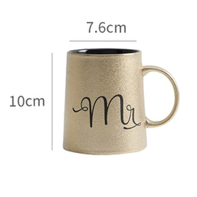 "Golden Coffee Mug ""Mr and Mrs"" -  100003290 - ShaadiMagic"
