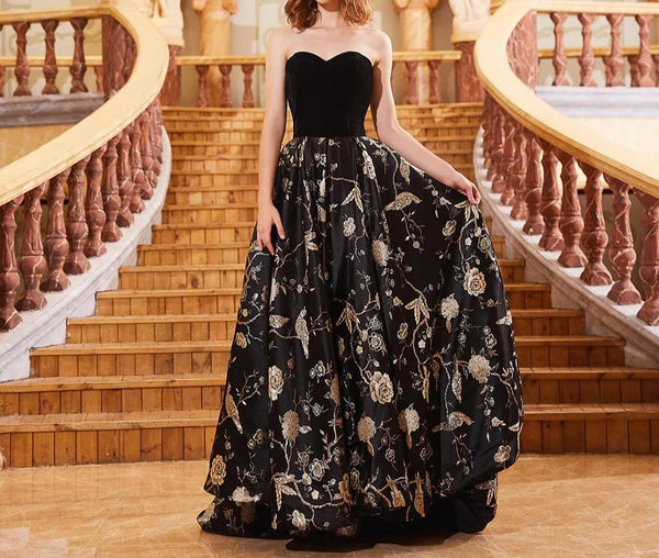 Newest Sweetheart Sleeveless Sexy Robe De Soiree Embroidery Flowers Black Turkish Kaftan Vestido Formal Evening Gowns OL103279 -  32004 - ShaadiMagic