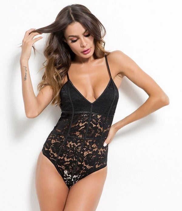 Floral Embroidery Transparent Sexy Bodysuit -  200000362 - ShaadiMagic