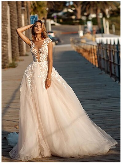 Illusion Back Puff Tulle Beach Wedding Gown
