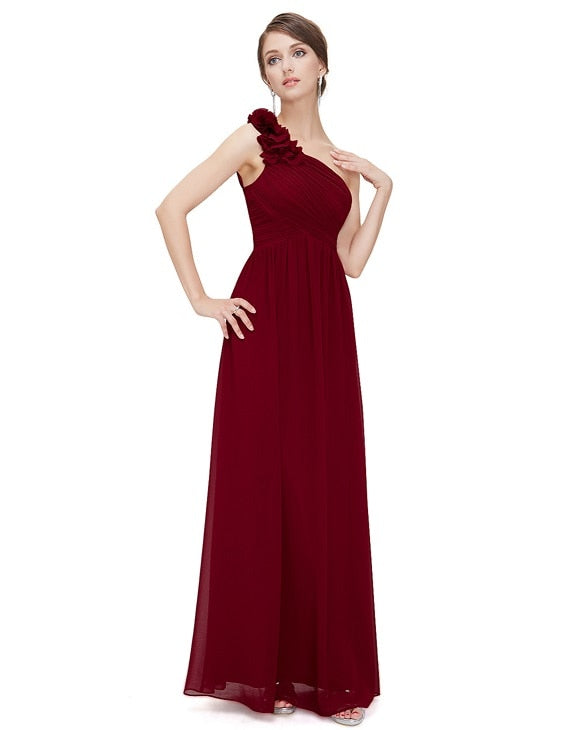 Long Chiffon Applique Bridesmaid Gown -  32003 - ShaadiMagic