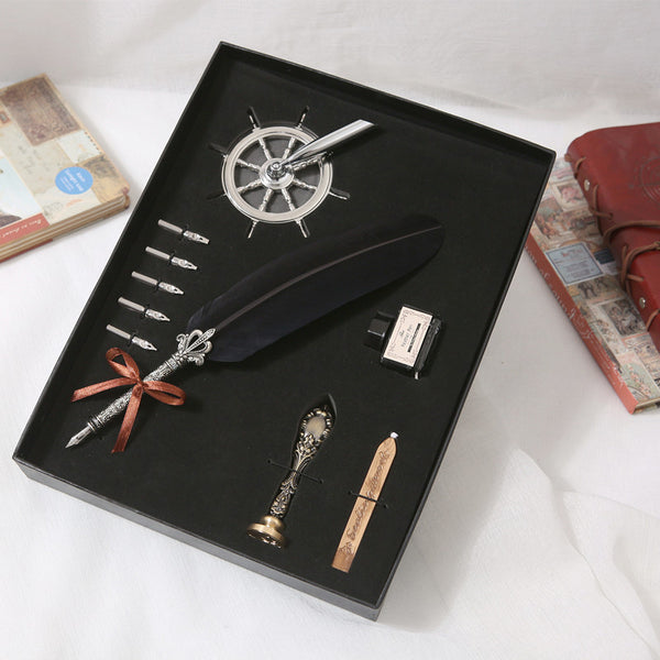 Retro Quill Feather Dip Pen Writing Ink Set Stationery Gift Box with 5 Nib Wedding Gift Quill Pen Fountain Pen Mother's Day Gift -  21110702 - ShaadiMagic