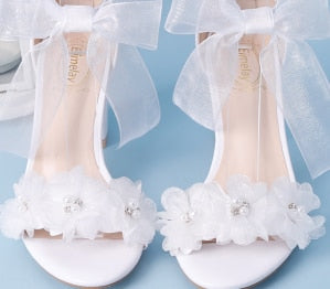 Elegant Lace Bow-knot Flower Wedding Shoes -  200001012 - ShaadiMagic