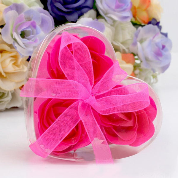 3 Pc. Aroma Heart Rose Soap Souvenirs