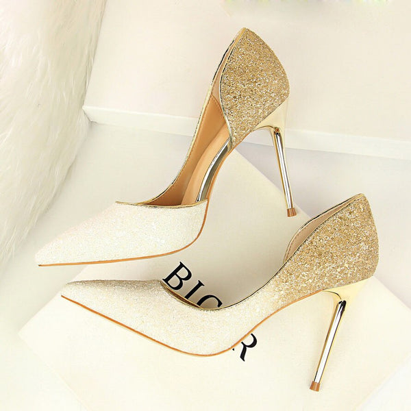 Glittery High Heels Sequins Wedding Heels -  200001012 - ShaadiMagic