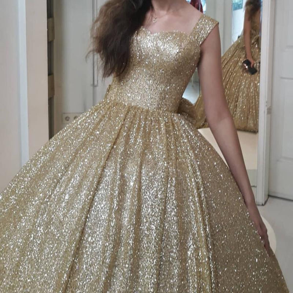 Lush Bling Bling Gold Sequined Prom Dresses 2019 With Cute Bow Puffy Ball Gowns Sweetheart Sparkle Prom Gowns Vestido Formatura -  100005793 - ShaadiMagic