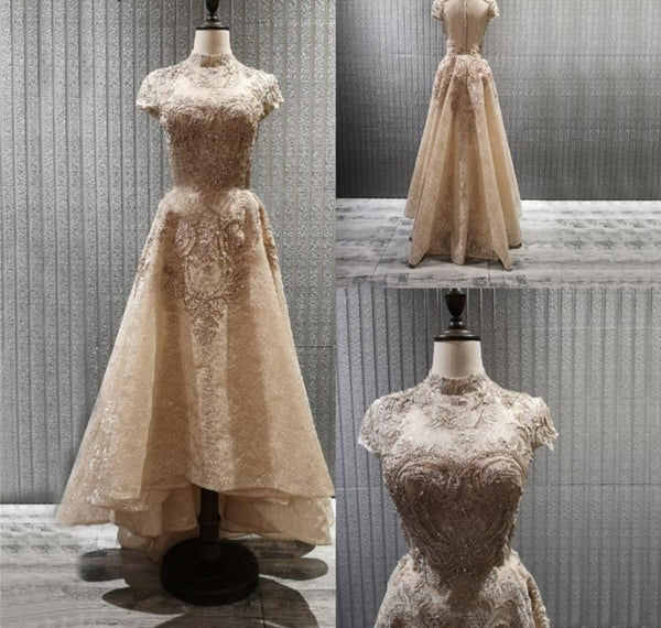 Gold High Neck Luxury Lace Beading Evening Gown