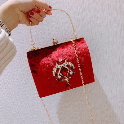 Boxed Velvet Retro Square Handbag -  100002856 - ShaadiMagic