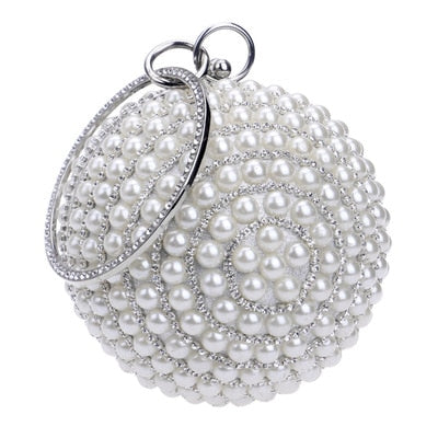 Beaded Pearl Round Handle Wedding Clutch -  100002856 - ShaadiMagic