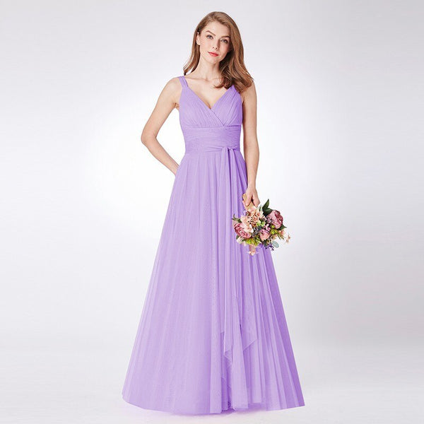 V-neck Sleeveless A-line Tulle Bridesmaid Dress -  100005793 - ShaadiMagic