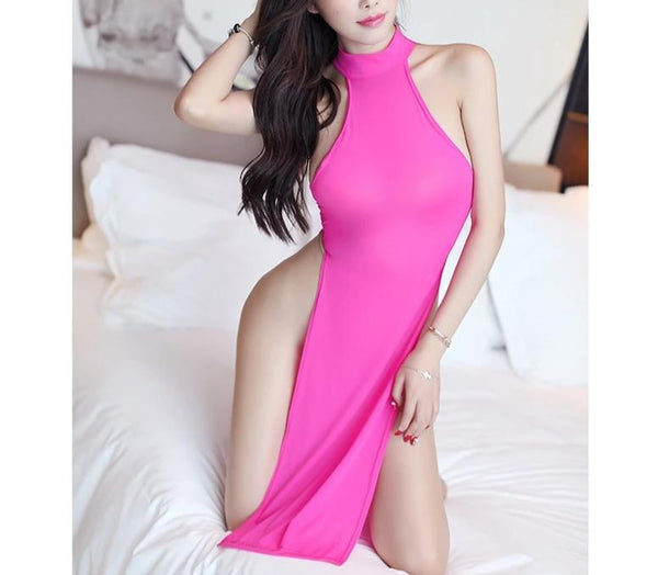 SAROOSY New Arrival Erotic Sexy Lingerie Hot for Women Candy Color Dress with Metal Ring Halter High Cut Open Crotch -  200001895 - ShaadiMagic