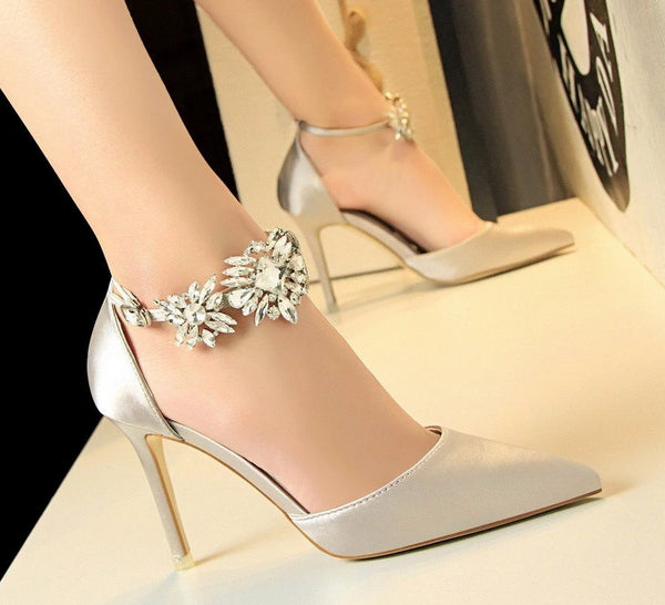 Rhinestone Strap Wedding Shoes -  200001012 - ShaadiMagic