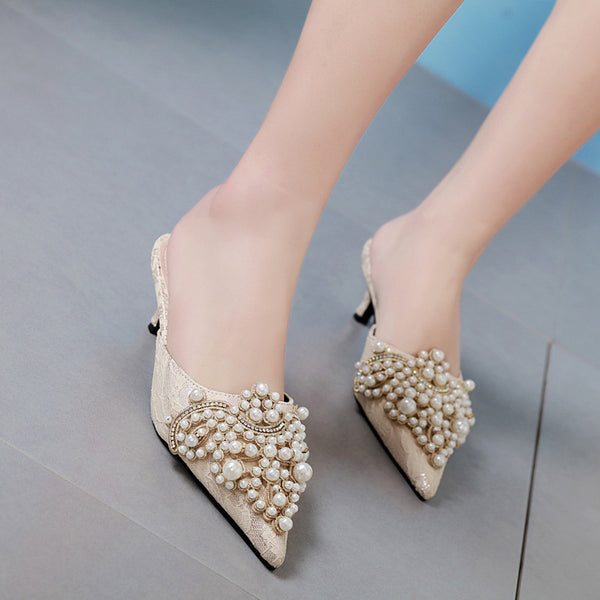 Beaded Pearl Mules Thin Pointed Heels -  200001004 - ShaadiMagic