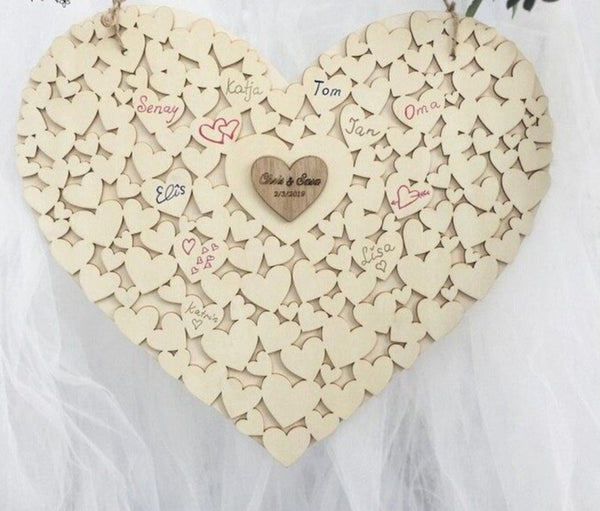 Personalized Hanging Heart Wedding Guest Book