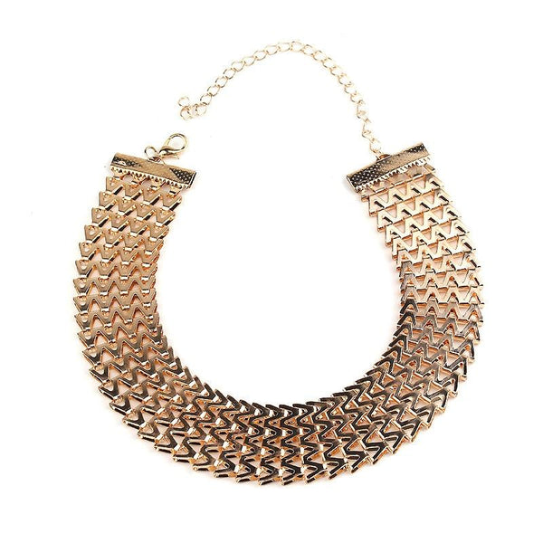 Wide Choker Necklace Fine Gold Chain -  [product_type] - ShaadiMagic