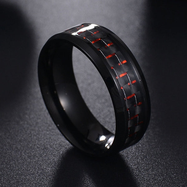 Steel Black Carbon Fiber Men Cool Rings -  [product_type] - ShaadiMagic