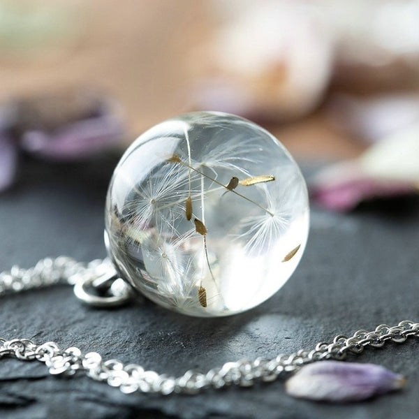 Real Dried Flowers Dandelions Resin Pendant Necklace -  [product_type] - ShaadiMagic