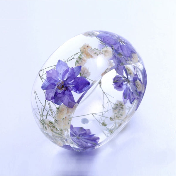 Transparent Purple Flowers Crystal Bangle Bracelet -  [product_type] - ShaadiMagic