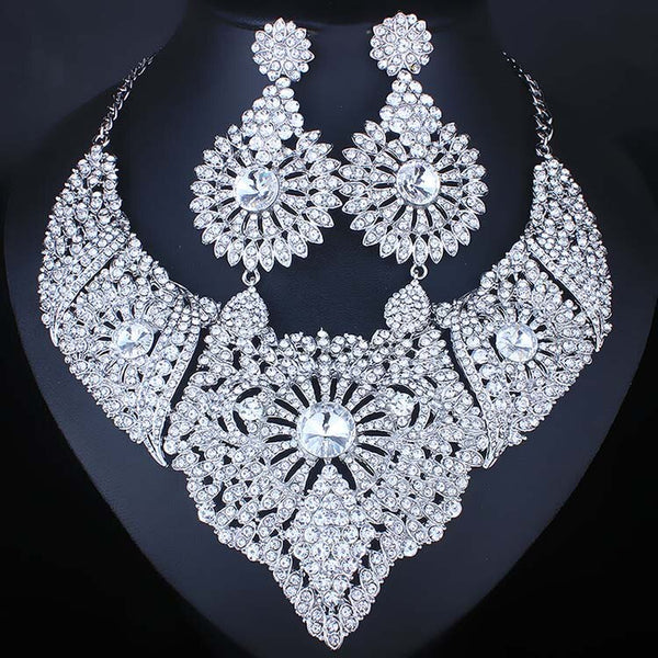 Clear Rhinestones Necklace Earrings Set -  100007324 - ShaadiMagic
