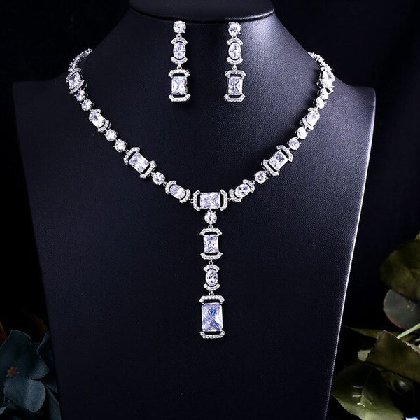 Crystal Zircon Earrings and Necklace Bridal Jewelry Set -  100007324 - ShaadiMagic