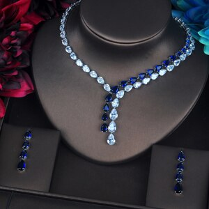 Luxury Clear And Blue Water Drop Jewelry Set -  100007324 - ShaadiMagic