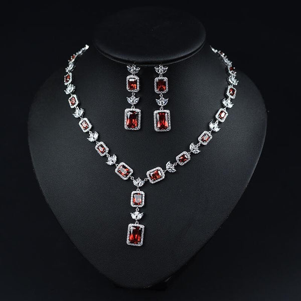 Water Drop Clear Cubic Zirconia Jewelry Sets -  100007324 - ShaadiMagic